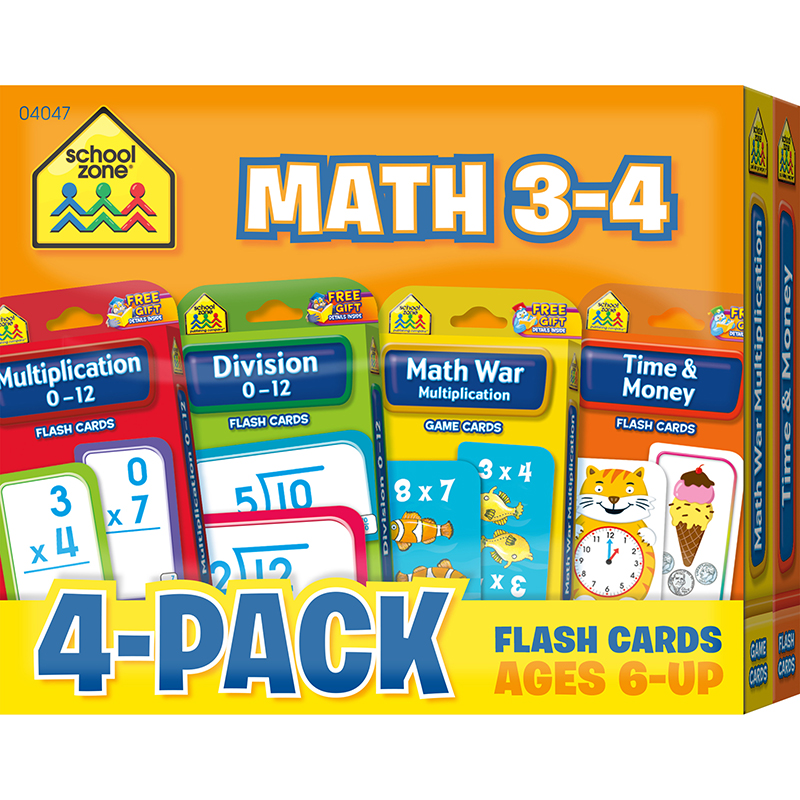 (2 PK) MATH 3-4 FLASH CARDS 4 PER PK