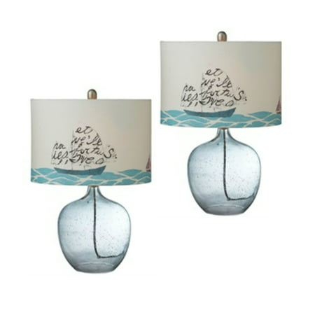 Printed Sailboat Shade With Glass Buoy Table Lamps Set of 2 Boats & Buoys Glass Print