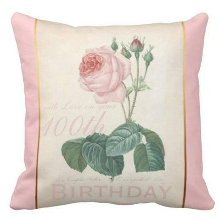 Birthday Pillowcase - ARTJIA Watercolor Botanical 100Th Birthday Celebration Vintage Floral Grandma Pillowcase Cover 20x20 inch