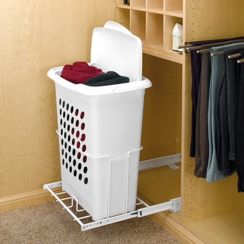 Rev-A-Shelf RHPRV-1925DMS 14 in. Door Mount Hamper with Lid - White