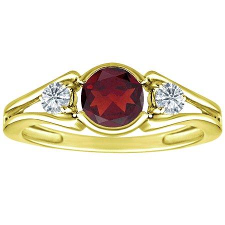 1.02 tcw Round Cut Garnet & Natural Diamond 3 Stone Ring Solid 10k Yellow Gold