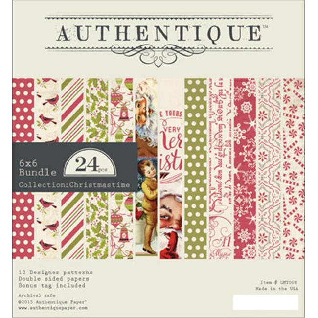 Authentique Paper CMT008 Christmastime Bundle Double - Sided Cardstock Pad - 6 x 6 in.