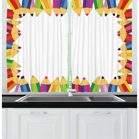 Kids Party Curtains 2 Panels Set, Frame of Colorful Pencils Fun School Time Theme Education Drawing Creativity, Window Drapes for Living Room Bedroom, 55W X 39L Inches, Multicolor, by Ambesonne - Kitchen Decorating Themes