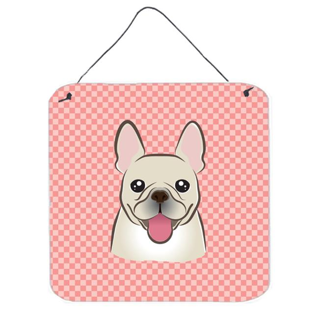 Checkerboard Pink French Bulldog Aluminum Metal Wall Or Door Hanging Prints, 6 x 6 In.