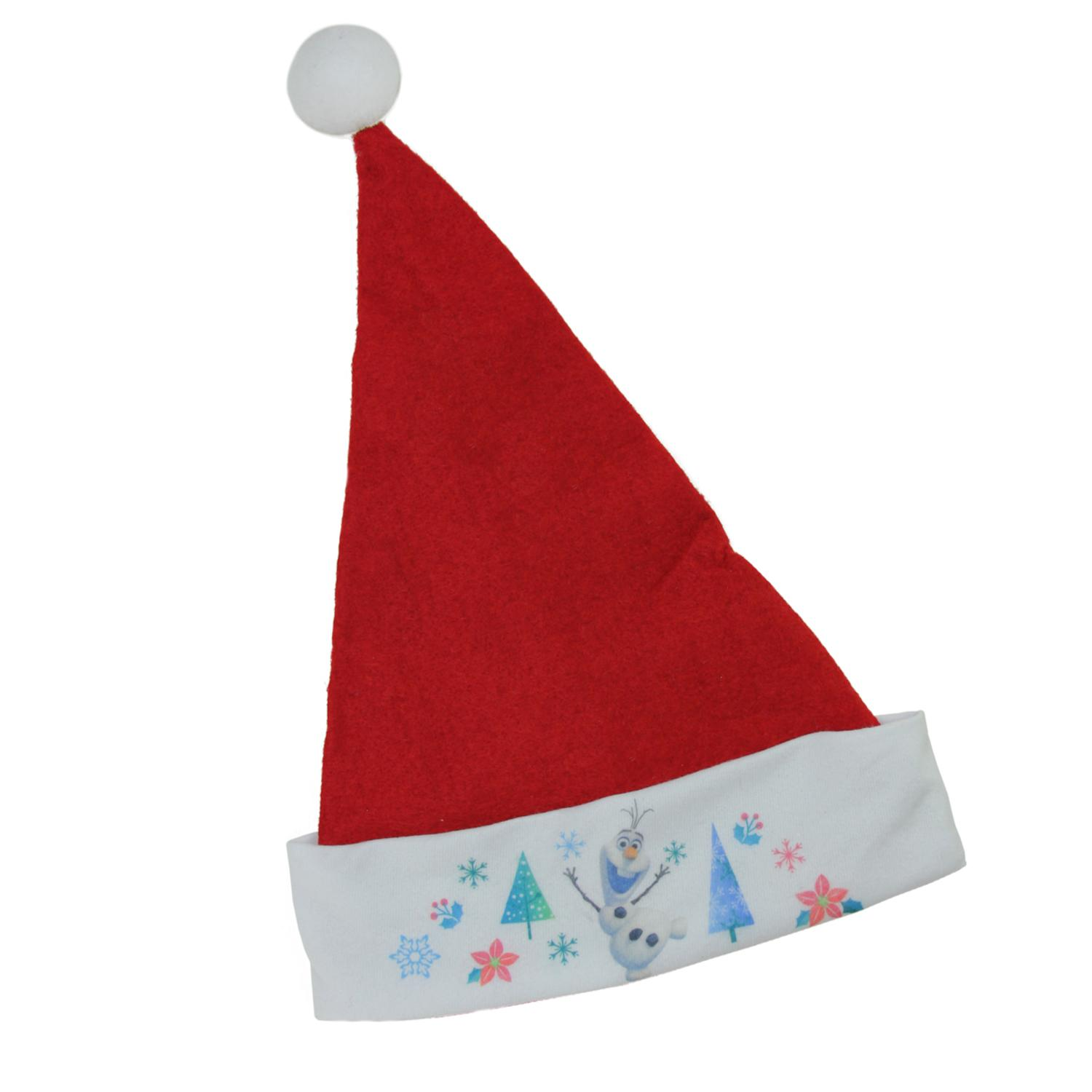 """17.5"""" Red Disney Frozen Christmas Santa Hat with Olaf on White Trim"""