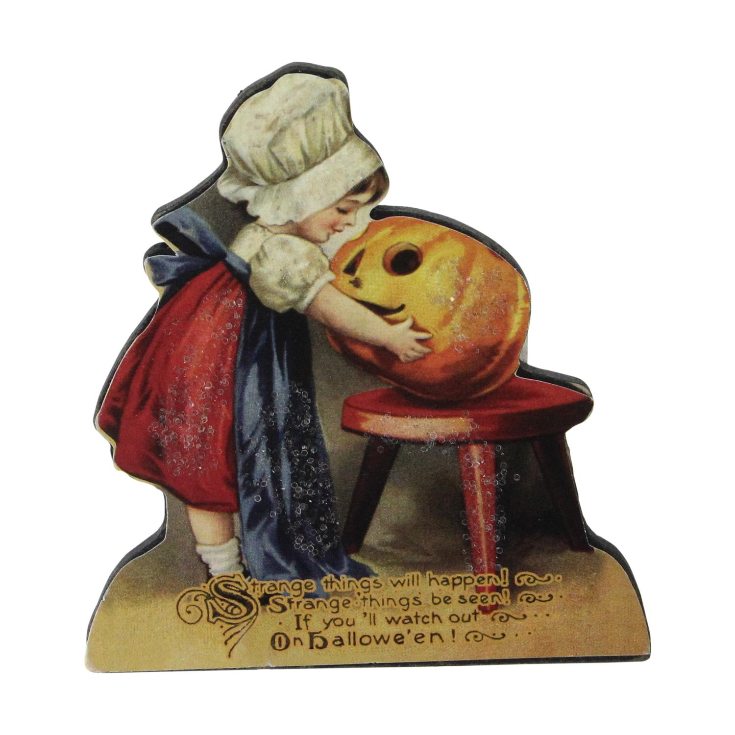 "4.25"" Glittered Child Carving a Pumpkin Vintage Autumn Sign Decoration"