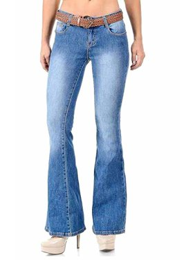 a26afb839ed0 Product Image Jack David Women's Juniors 70s Trendy Sexy Flare Fitted Bell  Bottom Denim Jeans