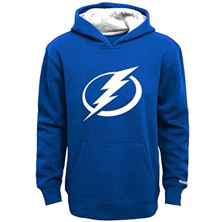 Reebok Navy Blue Sweatshirt (NHL Boys 4-7 Lightning Prime Basic Hoodie, L(7), Dark Blue )