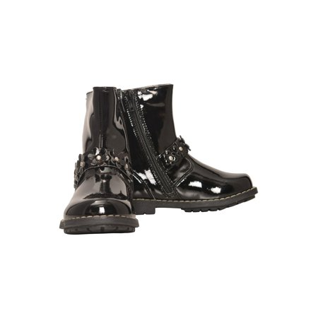 Girls Black Patent Side Zipper Flower Moto Boots](Black Boots For Girls)