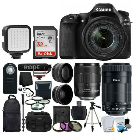 Canon EOS 80D DSLR Camera with 18-135mm Lens Video Creator Kit & More