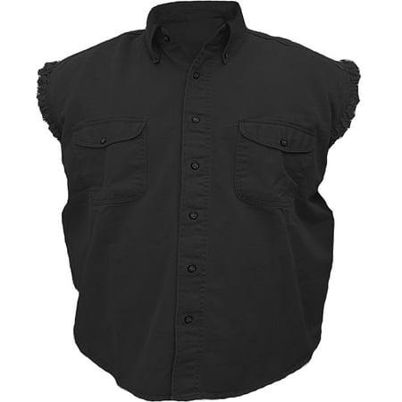 Mens Sleeveless Denim Twill Biker Shirt BLACK 2XL