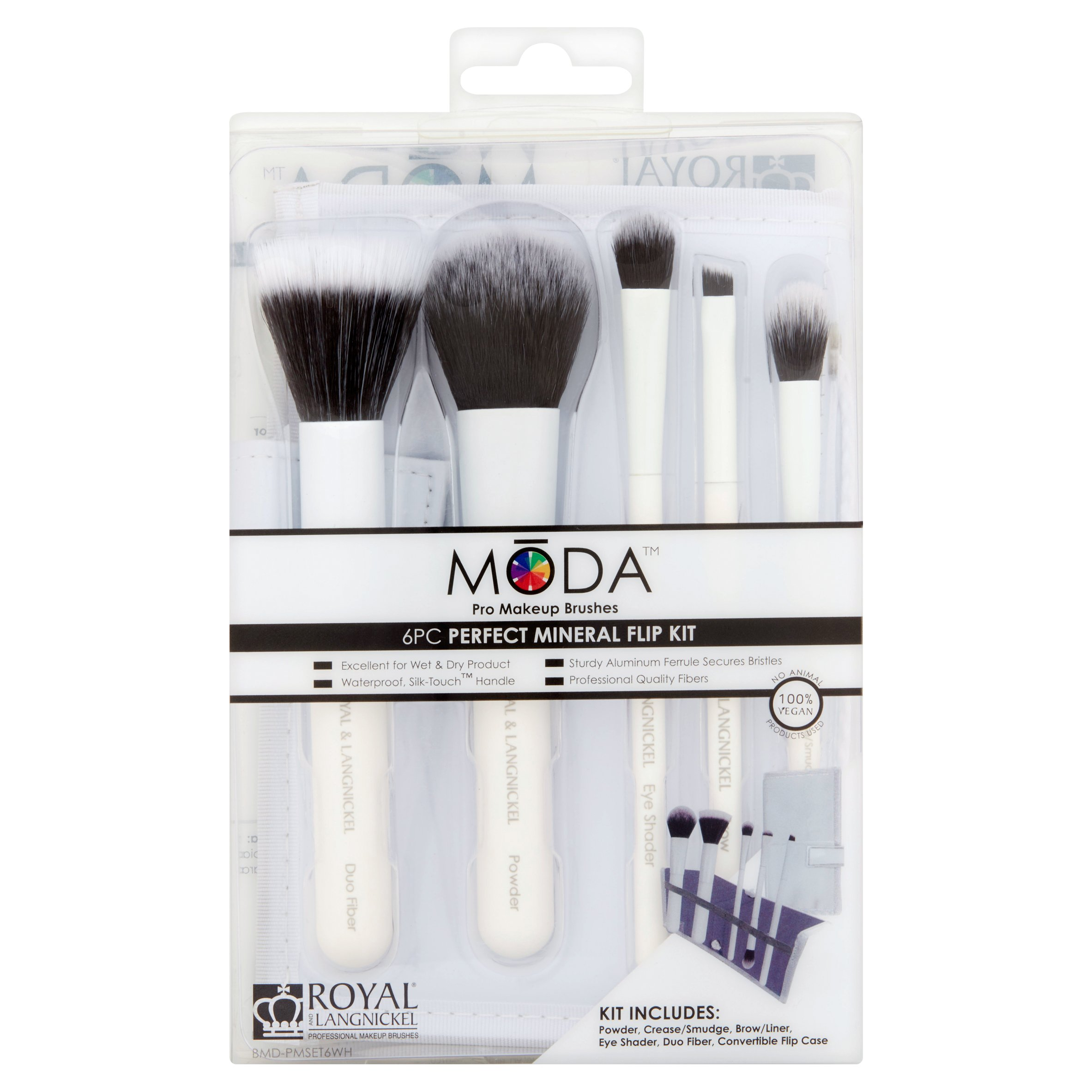 Royal and Langnickel Mōda Perfect Mineral Pro Makeup Brushes Flip Kit, 6 count