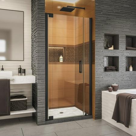 Fluence Frameless Pivot Shower Door (DreamLine Elegance-LS 31 - 33 in. W x 72 in. H Frameless Pivot Shower Door in Satin Black)