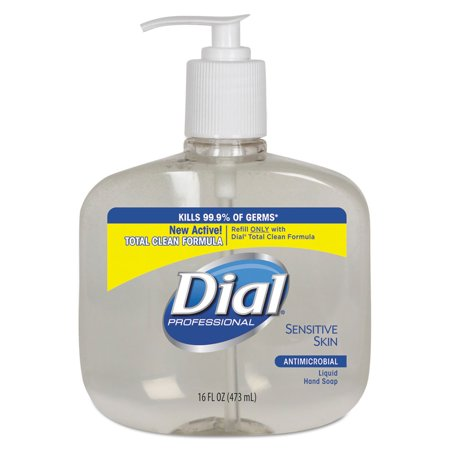 Dial Professional DIA 80784 Antimicrobial Soap For Sensitive Skin, 16oz Pump Bottle,