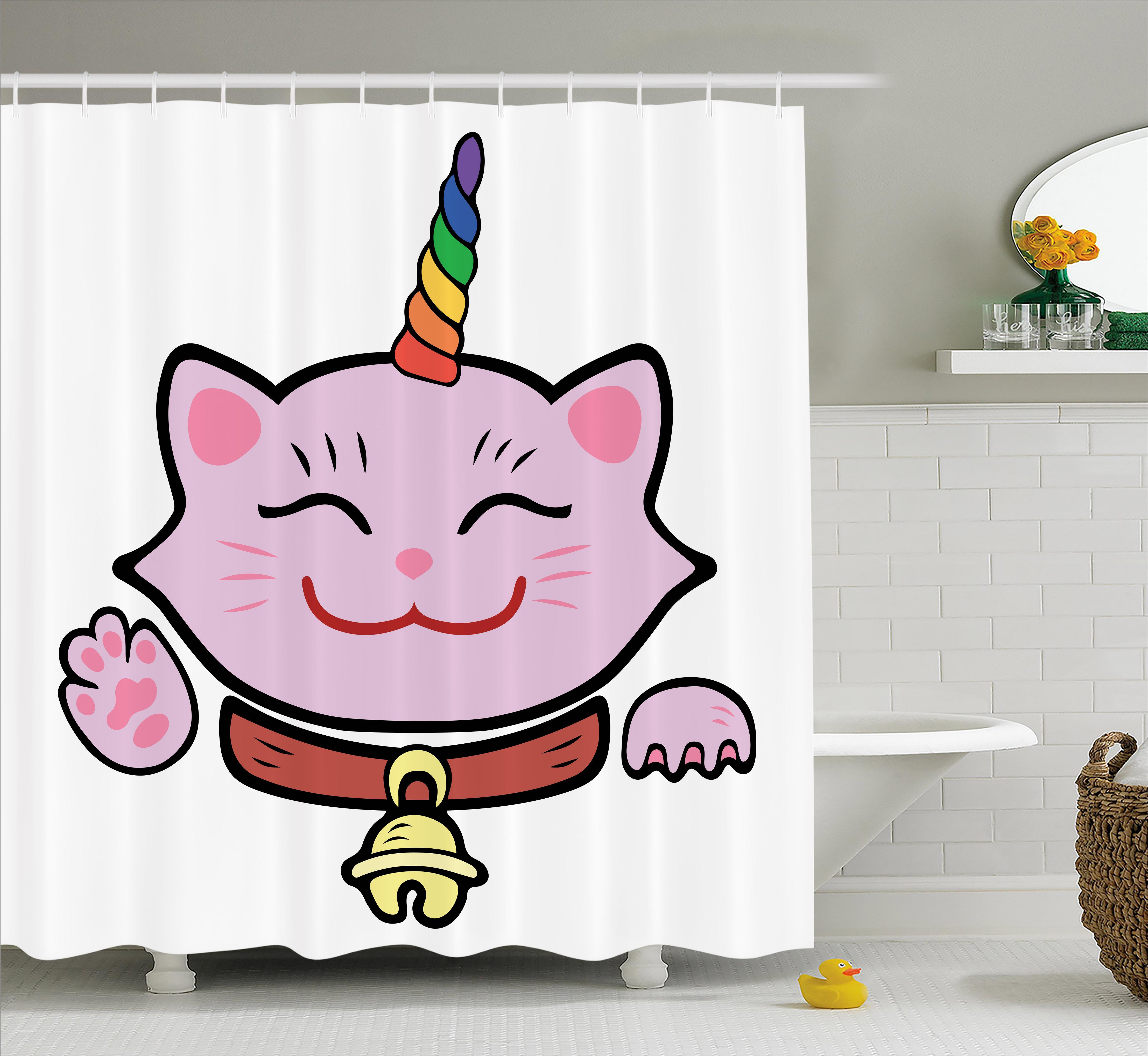 Unicorn Cat Shower Curtain, Pink Maneki Neko Symbol of Ha...