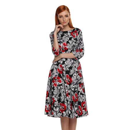 Stylish Leather Dress (3/4 Sleeve ACEVOG O-neck Full-Length Floral Stylish Women Dress)
