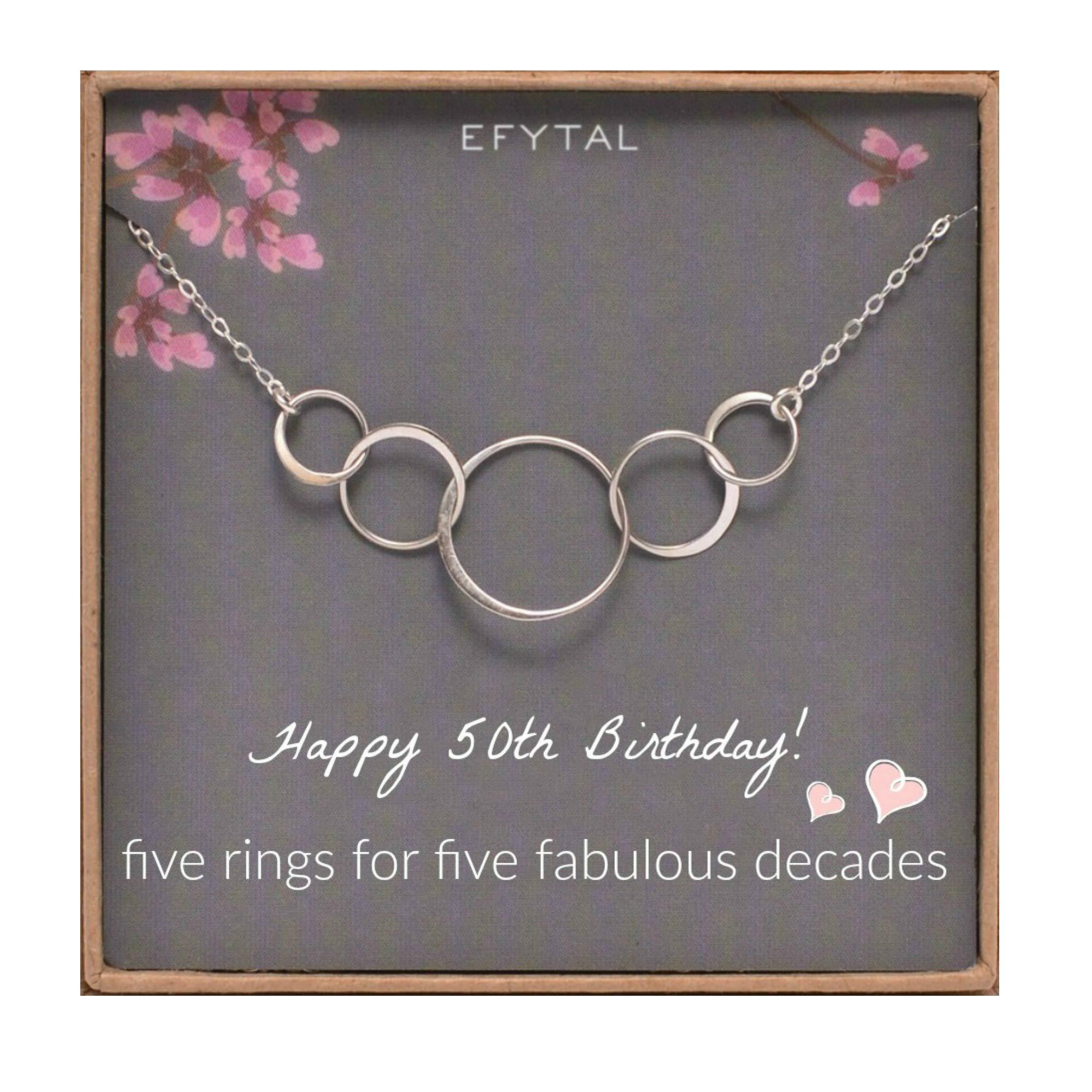 5 Decade Jewelry 50 Years Old 50 Sterling Silver Five Circle Bracelet for Her 50th Birthday Gifts for Women