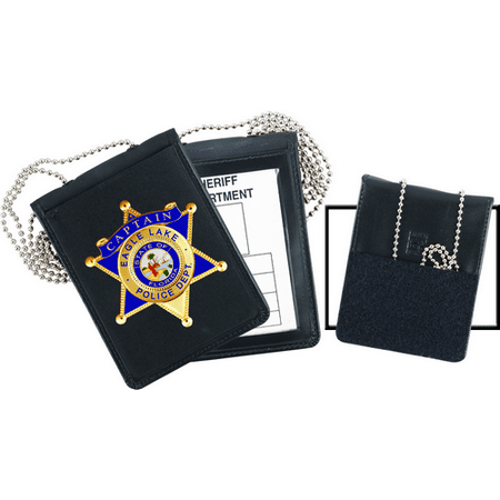 (Velcro Badge & ID Holder Oval w/chain - 71600-0402 - Strong Leather Company)