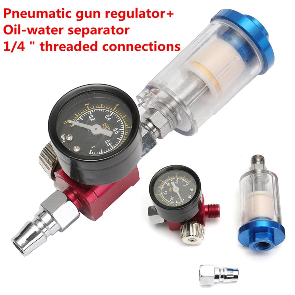1xAir Pressure Regulator Gauge Spray Gun In-Line Water Separator Oil Trap Filter