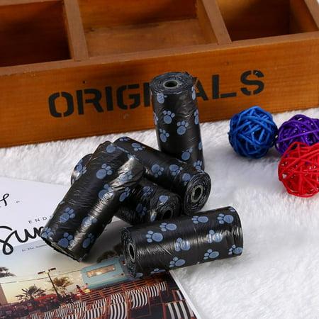 5 Rolls Portable Printed Pet Puppy Dog Cat Waste Clean Poop Pick Up Garbage Bags - Halloween Cat Poop Cookies