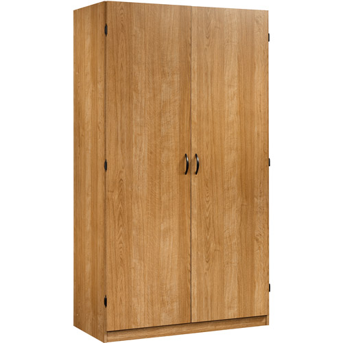 Sauder Beginnings Wardrobe and Storage Cabinet with Adjustable Shelves, Highland Oak