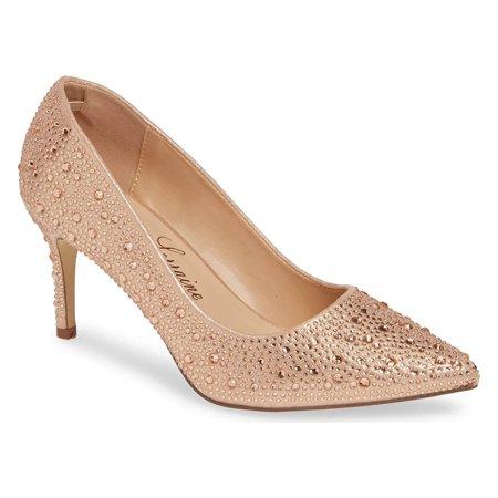 Lauren Lorraine Jewel Rose Gold All-Over Crystals Slim Heel Pointy Toe Pumps