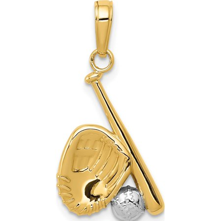 Sport Charm Baseball - 14k Yellow Gold w/Rhodium Baseball, Bat, & Glove (13x21mm) Pendant / Charm