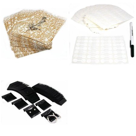 Gold Tone Paper Gift Bags W  Jewelry Price Tags   Black Earring Cards 1200 Pcs