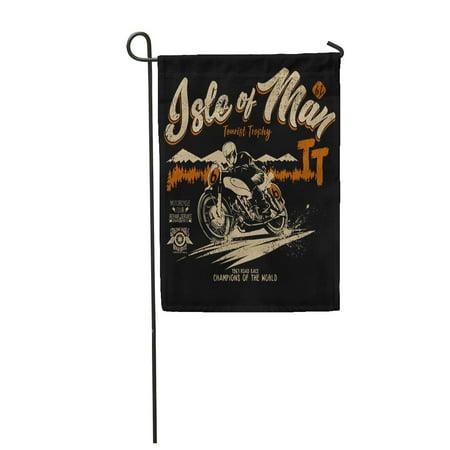 LADDKE Motorcycle Isle of Man Race Cycle Emblem Motor Badge Bike Garden Flag Decorative Flag House Banner 12x18 inch