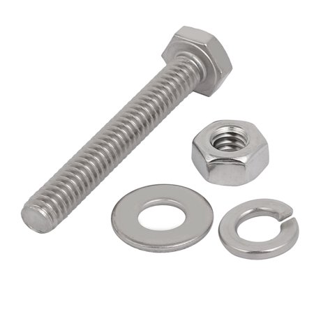 "Unique Bargains 10Set 304 Stainless Steel 1/4""-20 Thread 1-3/4"" Length Hex Bolt Kit w Washer Nut - image 1 of 3"
