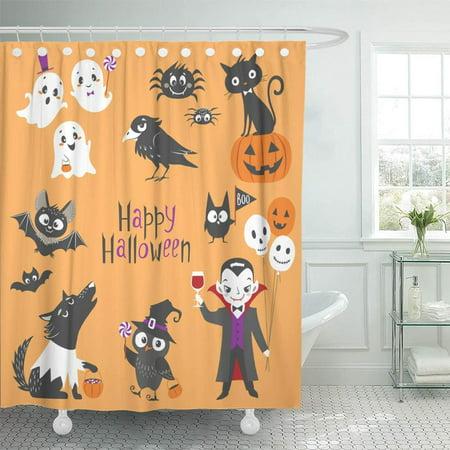 PKNMT Cute Halloween Characters Pumpkin Ghosts Bats Black Cat Raven Spiders Vampire Waterproof Bathroom Shower Curtains Set 66x72 inch