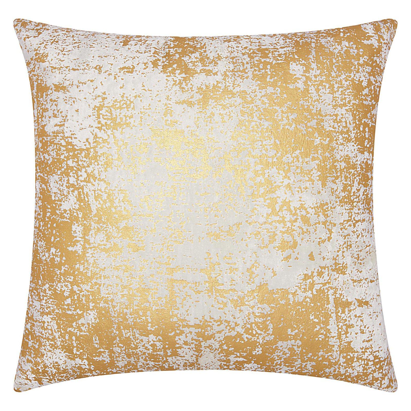 "Nourison Luminecence Distressed Metallic Decorative Throw Pillow, 20"" x 20"", Gold"