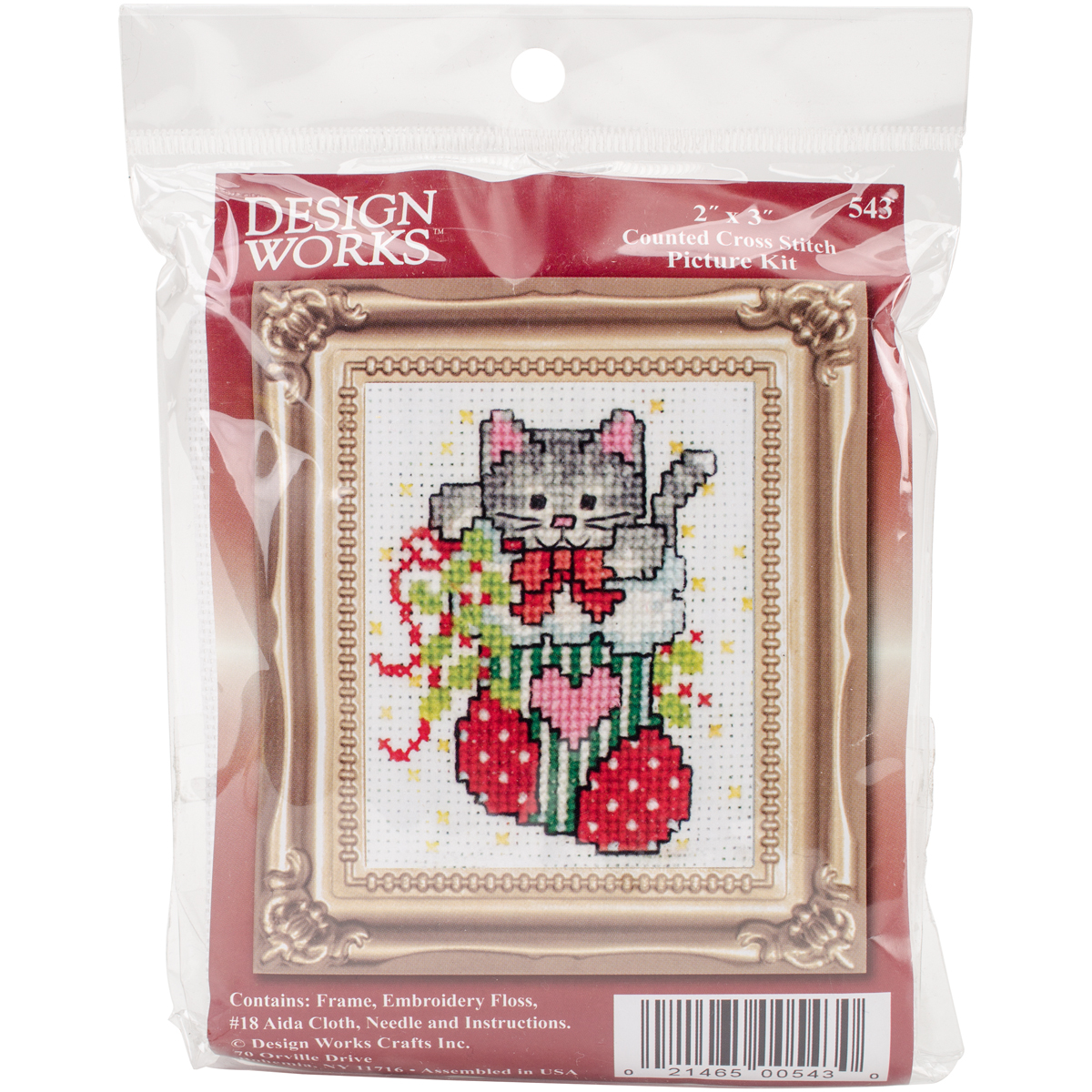 """Design Works Counted Cross Stitch Kit 2""""X3""""-Stocking Cat W/Frame Mini (18 Count) - image 1 of 1"""