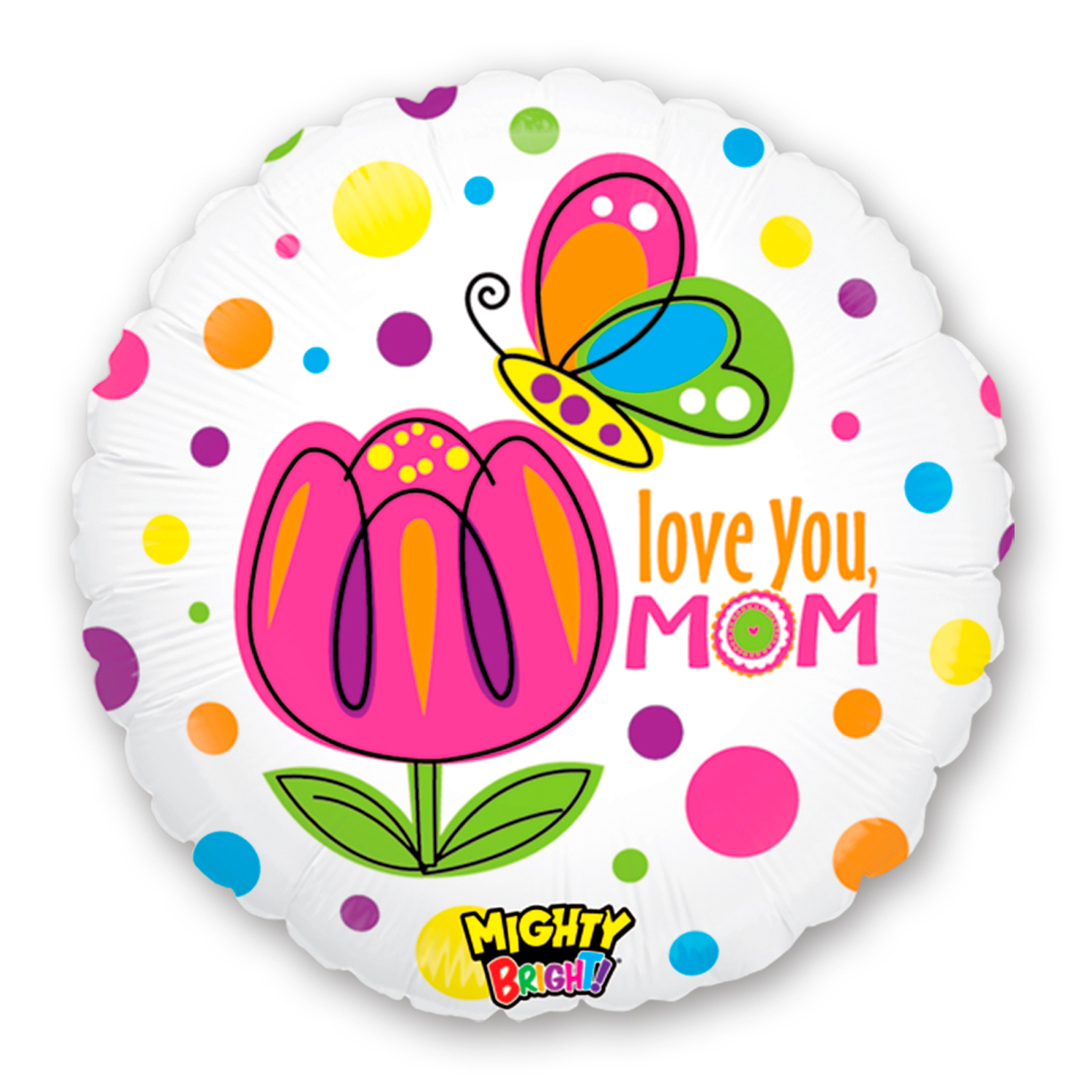 """Betallic Love You Mom Butterfly Mighty Bright 21"""" Foil Balloon"""