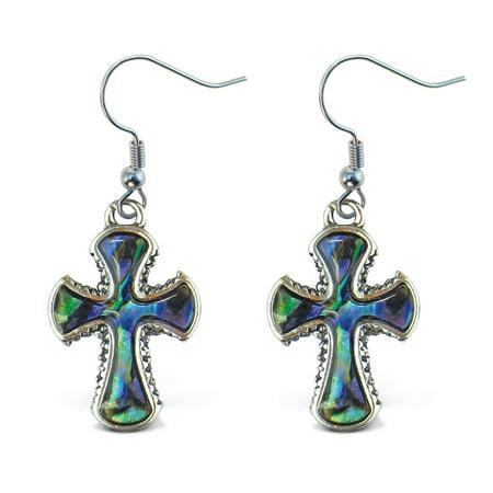 - Aqua Jewelry - Earrings - Dangle Post - Fish Hook - Natural Paua - Cross