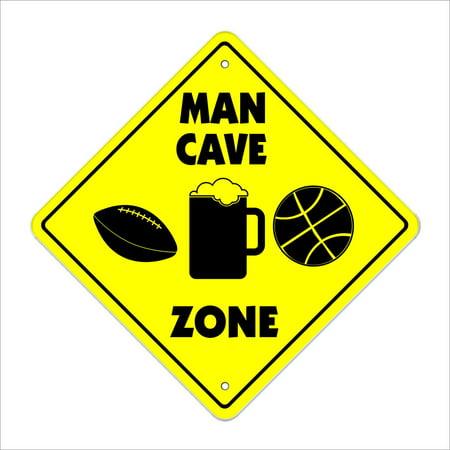 Man Cave Crossing Sign Zone Xing | Indoor/Outdoor | 14