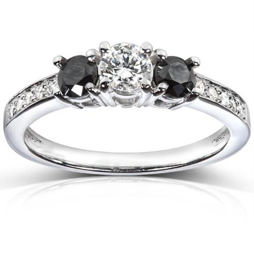 Annello  by Kobelli 14k White Gold 3/5 ct TDW Black and White Diamond 3 Stone Engagement Ring