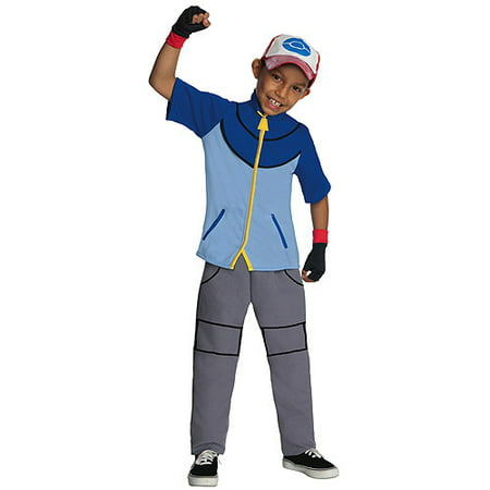 Pokemon Ash Costumes (Deluxe pokemon ash child halloween costume Child Large 12-14)