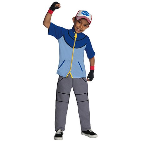Deluxe pokemon ash child halloween costume Child Large 12-14 (Ash Ketchum Costume Men's)