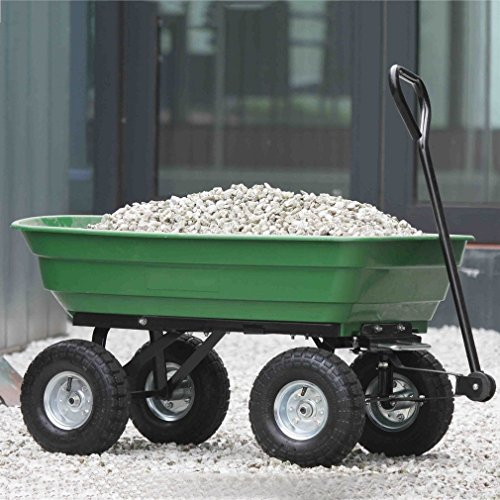 Heavy Duty Large Capacity Dump Carts Yard Cart Dumper Utility Yard Lawn Wagon Carrier Wheel Barrow Pneumatic... by