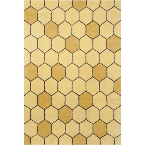 Chandra Rugs Stella Patterned Contemporary Wool Gold Area
