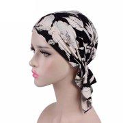 Women's Elastic Cotton Printed Turban Chemotherapy Baotou Cap
