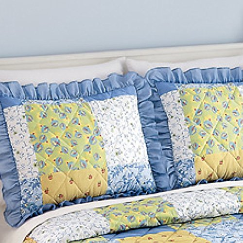 Collections Etc Blue, Yellow and White Andrea Pillow Sham
