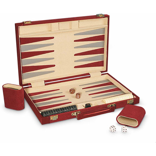 "Sterling Games 15"" Backgammon Set, Burgundy"