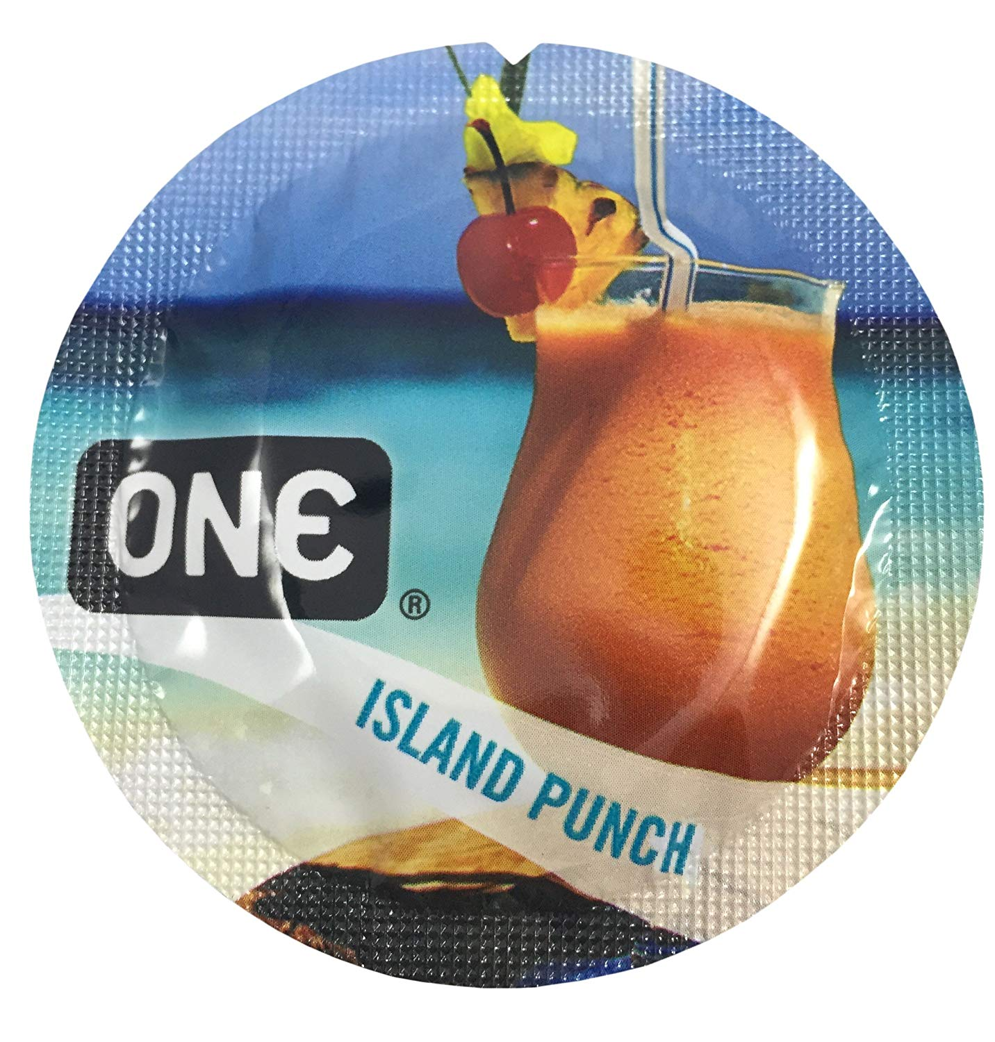 ONE Island Punch + Silver Pocket Case, Tropical Flavored Lubricated Latex Condoms-24 Count