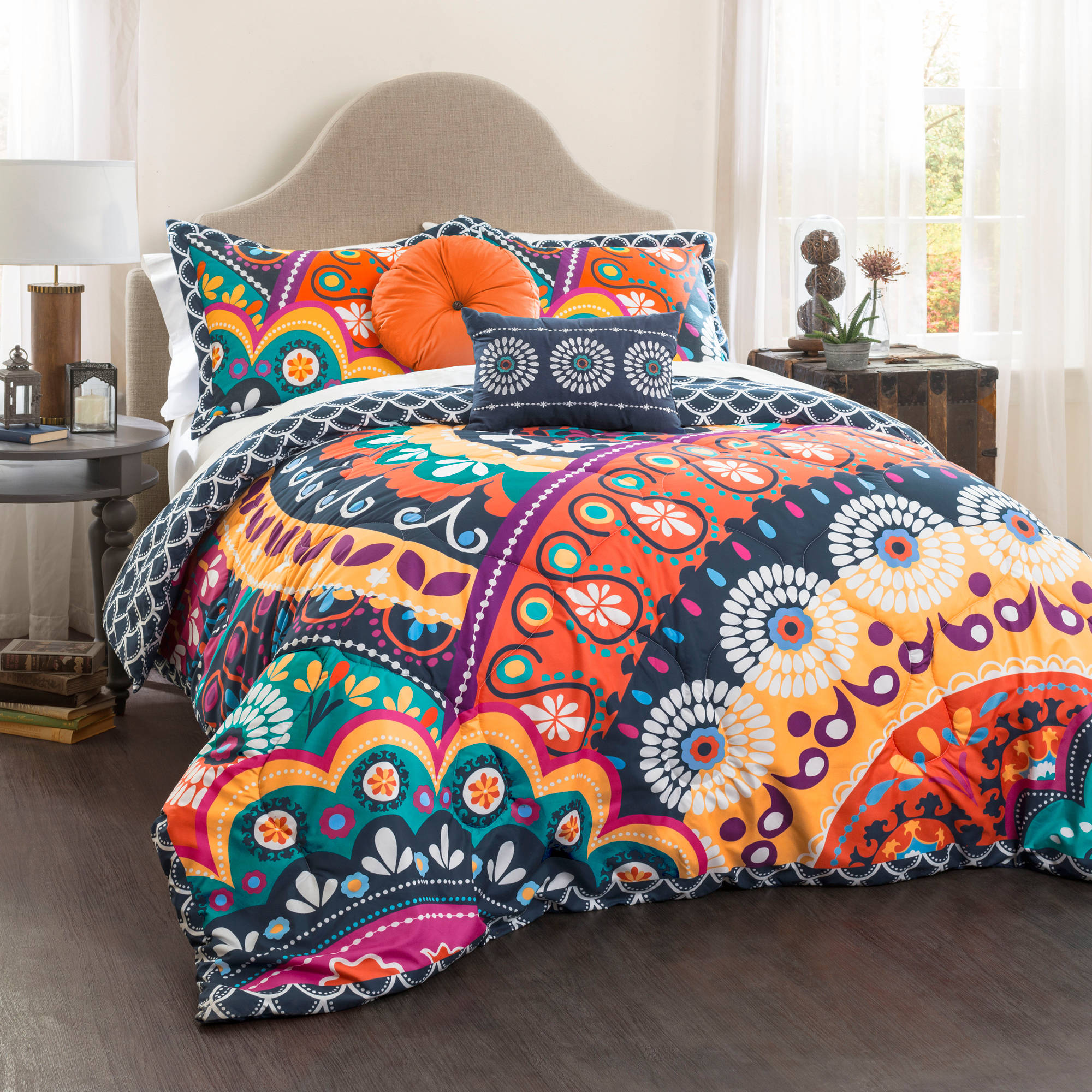 Maya Quilted Comforter Navy/Orange 5-Piece Set, King