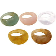 Colorful Resin Rings Wide Thick Dome Knuckle Finger Stackable Joint Ring Retro Acrylic Transparent Vintage Jewelry Party Elegant Handmade Gift