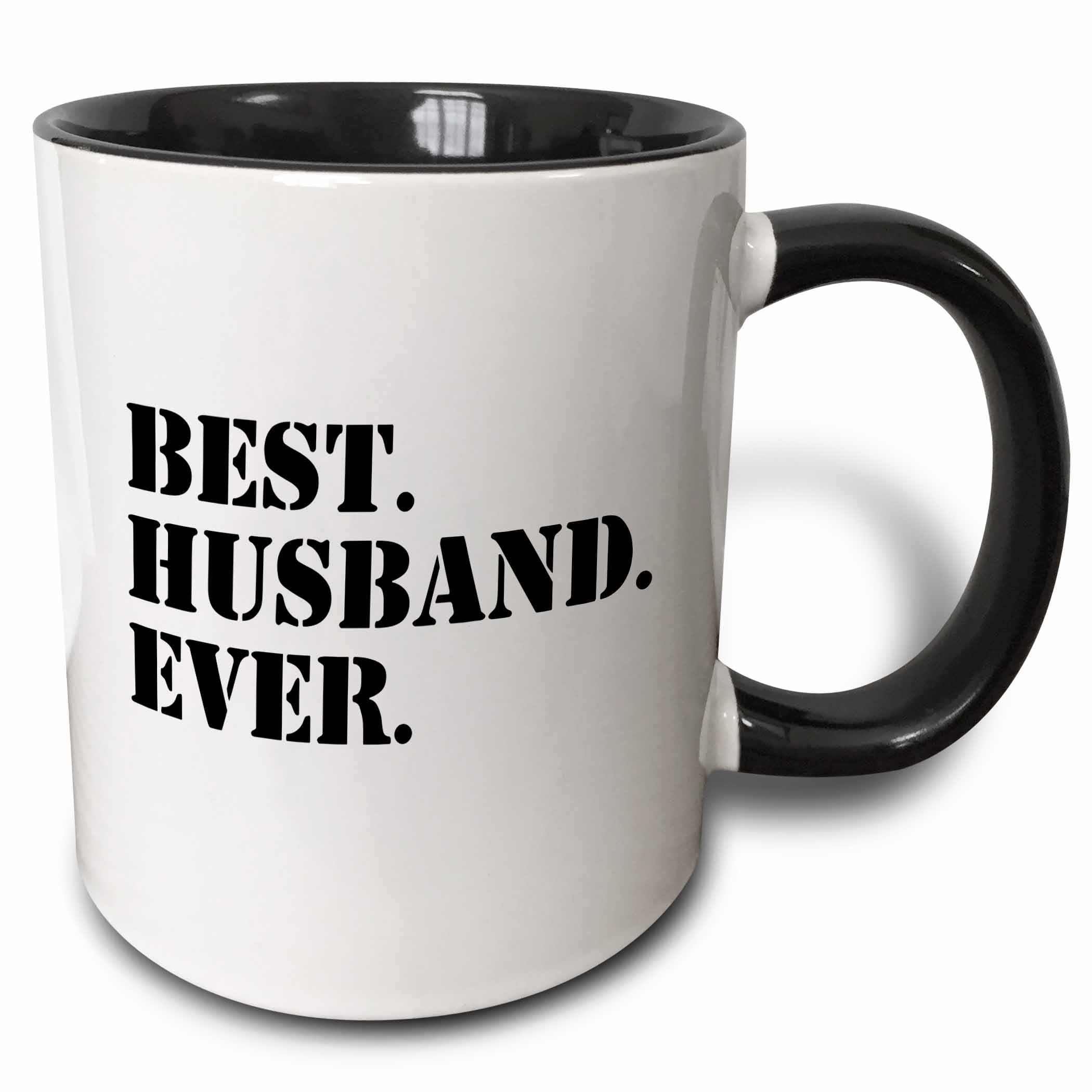 3dRose Best Husband Ever - fun romantic married wedded love gifts for him for anniversary or Valentines day, Two Tone Black Mug, 11oz