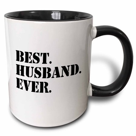 3dRose Best Husband Ever - fun romantic married wedded love gifts for him for anniversary or Valentines day, Two Tone Black Mug,