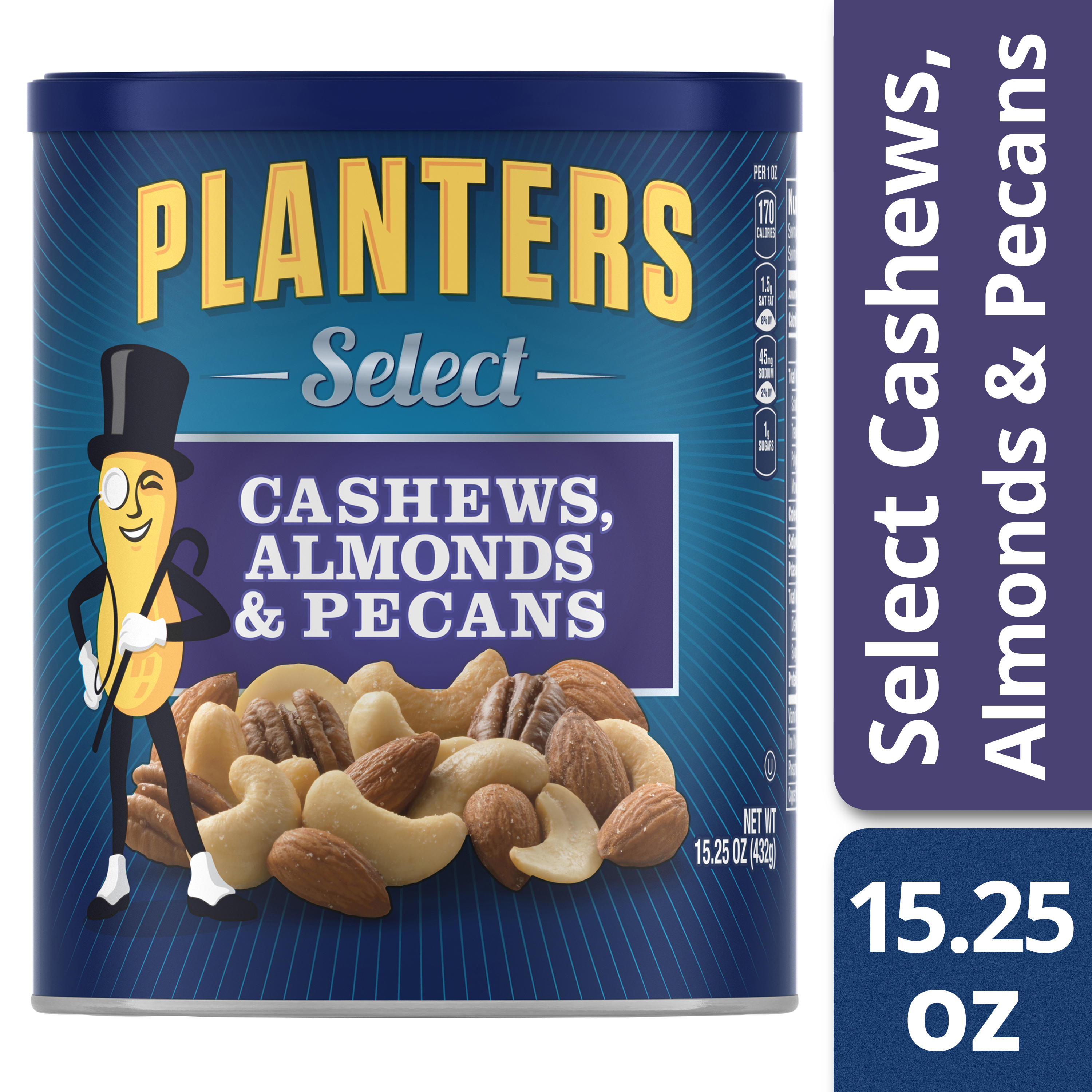 Planters Select Almonds, Cashews, and Pecans 15.25 oz Canister
